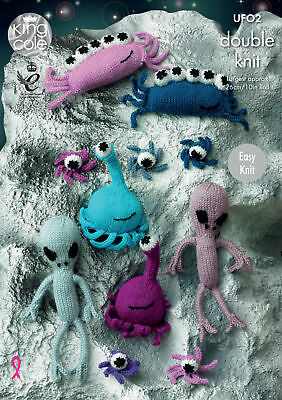Easy Knit Aliens Double Knitting Pattern King Cole Dollymix DK Small Toys UF02