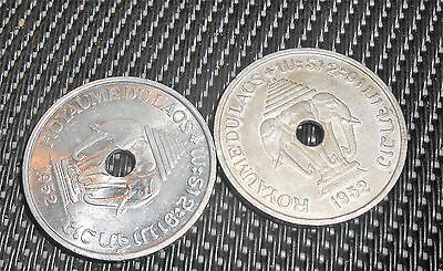 Nice  2 Laos 1952 20 Cents Coins