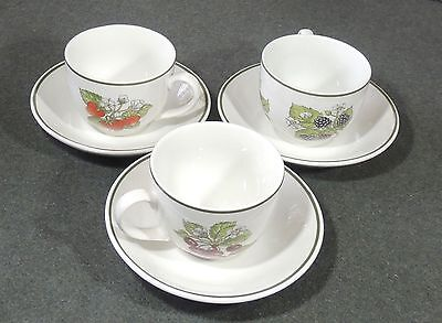 3 Tiffany & Co Johnson Brothers England Staffordshire Gardens Cups & Saucers EUC