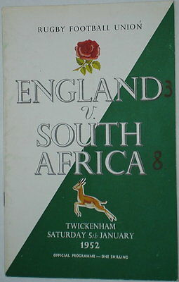 England South Africa  Rugby Union Programme 1952