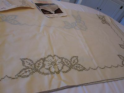 """Progress Stamped Tablecloth Kit Partially Completed 60"""" X 80"""" Oblong Floral"""