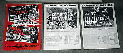 JET ATTACK/SUICIDE BATTALION original WW2/KOREAN WAR combo 1958 movie pressbook