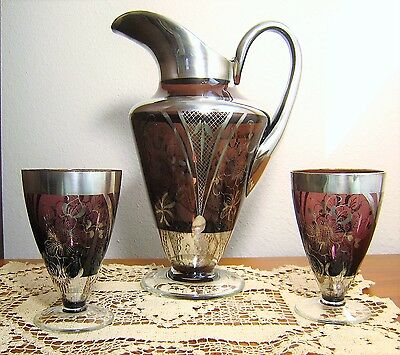 Gorgeous Antique Amethyst Glass Silver Overlay Pitcher/ewer & Two Glasses