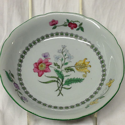 """Spode Fine Stone Summer Palace Cereal Bowl 6 1/4"""" Yellow Pink Flowers Green Trim"""