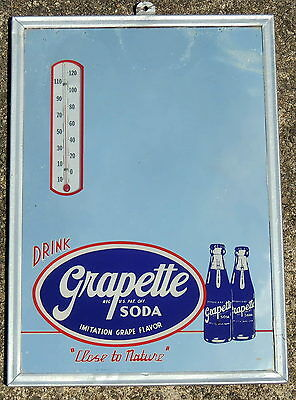 """vintage 1940-50s GRAPETTE Mirror Thermometer 14"""" SIGN Soda Fountain Advertising"""