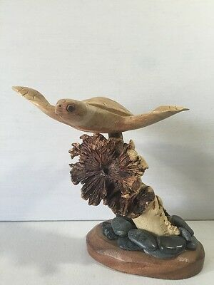 Sea Turtle Sculpture Figurine Wood Carved