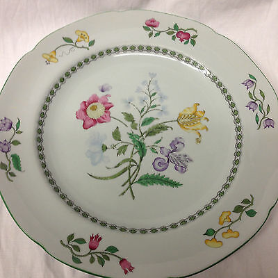 "Spode Fine Stone Summer Palace Dinner Plate 10 1/4"" Yellow Pink Flowers"