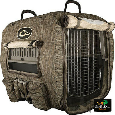 Drake Waterfowl Deluxe Adjustable Insulated Dog Kennel Cover Bottomland Camo