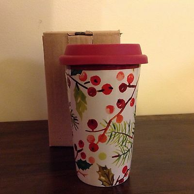 Longaberger Holly Berry Travel Cup  New in Box