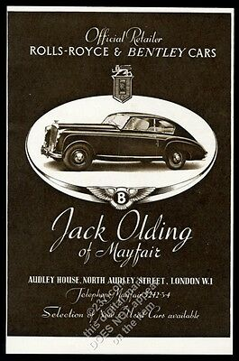 1950 Bentley coupe car photo UK vintage print ad