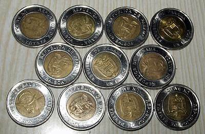 11 Coin Set, Panama Coin 2011 Bi-Metallic Un Balboa 1 One Dollar, Bi Metal