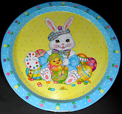 """EASTER Bunny Tin Litho Tray Round Rabbit Chick Eggs 13"""" Vtg GIFTCO Tulips 1970s"""
