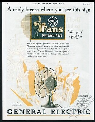 1928 General Electric fan GE sign art vintage print ad