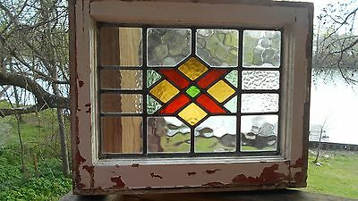 Antique English Stained Glass Window * Orig. Wood Frame * Lots Of Color!