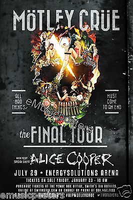 "Motley Crue / Alice Cooper ""the Final Tour"" 2015 Salt Lake City Concert Poster"