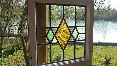 Antique English Stained Glass Window * Orig. Wood Frame * Versatile!