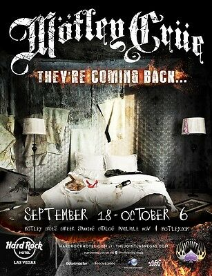"MOTLEY CRUE ""THEY'RE COMING BACK"" 2014 LAS VEGAS CONCERT TOUR POSTER-Heavy Metal"