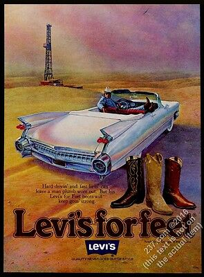 1978 Levi's cowboy boots 1959 Cadillac convertible oil well art vintage print ad