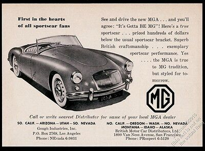 1958 MG M.G. MGA car It's Gotta Be MG vintage print ad