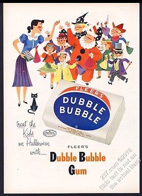 1953 Dubble Bubble Fleer's gum Halloween costumes black cat art vintage print ad