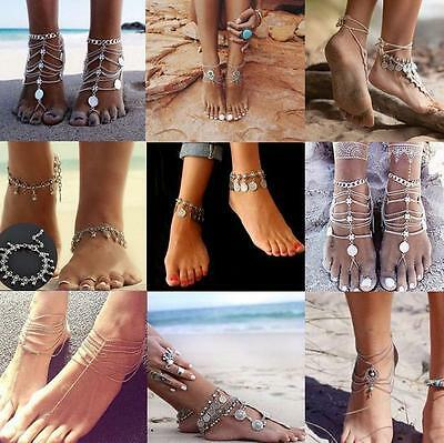 Bling Barefoot Beach Sandals Bridal Wedding Crystal Anklet Foot Ring Jewellery