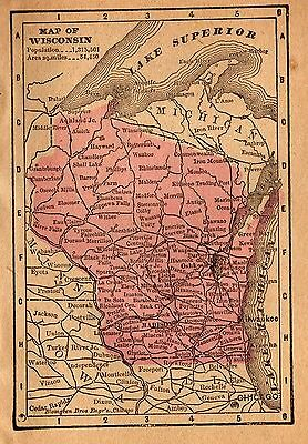 RARE Antique WISCONSIN Map 1888 RARE MINIATURE Vintage Map of Wisconsin #3458