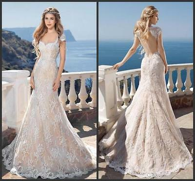 Backless Champagne Ivory Lace Wedding Dress Bridal Gown Custom Size 6 8 10 12 14