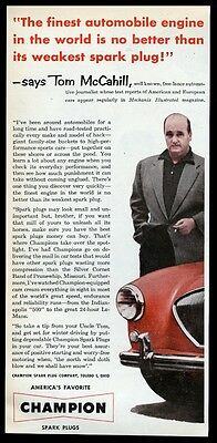 1954 Austin-Healey 100 red car photo Champion spark plugs vintage print ad