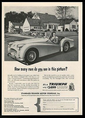 1955 Triumph TR2 TR-2 car and 2 women photo vintage print ad