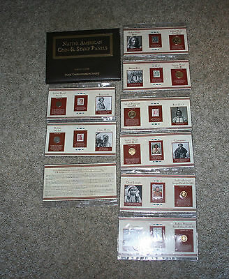 Lot of Postal Commemorative Society Native American Coin & Stamp Panels