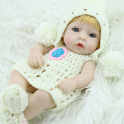 "10"" Lifelike Baby Dolls Full Vinyl Handmade Real Looking Newborn Baby Girl Doll"