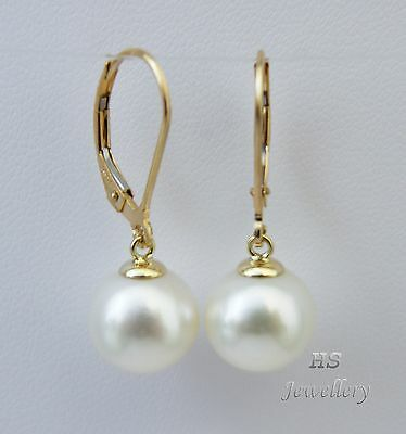 HS Round South Sea Cultured Pearl 10mm 14K Yellow Gold Hoop Earrings AAA Grading