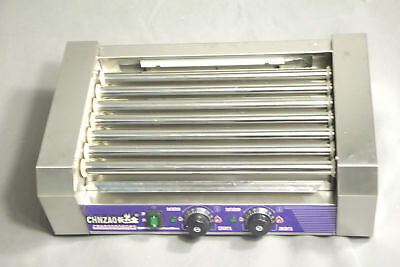 Double Temperature Control Commercial 7 Roller Hot Dog Grill Cooker Machine 220V