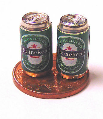 1:12 Scale 2 Empty Lager Drink Tins Dolls House Miniature Bar Drink Accessory