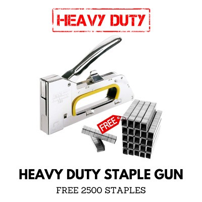 4/6/8mm Heavy Duty Tacker Staple Gun Upholstery Stapler With 2500x Staples Free