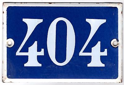 Old blue French house number 404 door gate plate plaque enamel metal sign steel