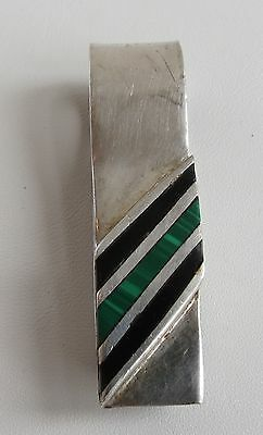 1970s Sterling silver malachite onyx Mexico vintage money clip very tight strong
