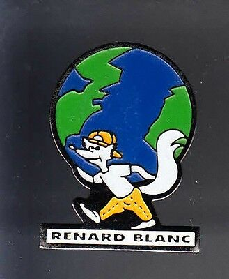 Rare Pins Pin's .. Animal Renard Fox Mappemonde Blanc Marque ~Bb