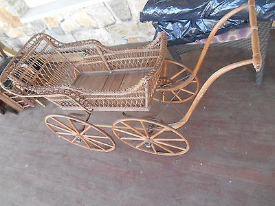 antique baby carriage wicker very sturdy pick up new jersey