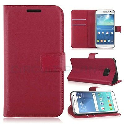 Samsung Galaxy S6 Leather Flip Case Wallet With Free Tempered Glass Rose Red 03