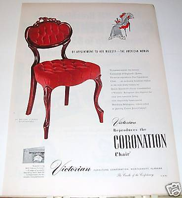 1953 Victorian Coronation Queen of England Chair Ad