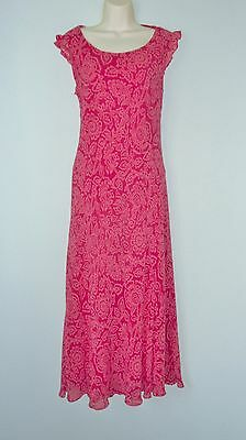 COUNTRY CASUALS pink print 100% SILK Formal Wedding Occasion dress fits 12/14