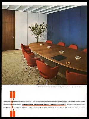 1959 Eero Saarinen red chair conference table photo Knoll Associates print ad