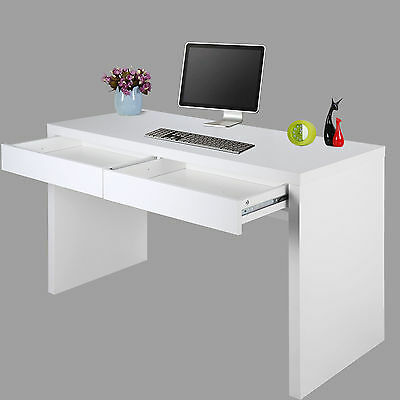Computer Office PC Desk Workstation Desktop Table Storage With 2 Drawers White