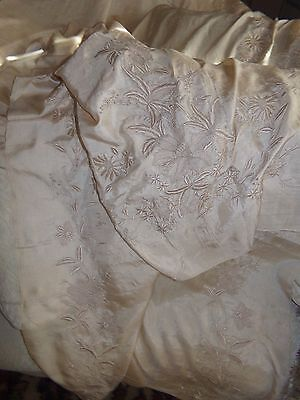 Antique Early 1900's Chinese Qing Dynasty Hand Embroidered Silk Fabric 4 YARDS