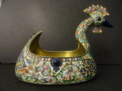 rare large Antique Russian silver 88 jeweled & cloisonne shaded enamel kovsh