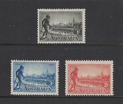 1934 Australia Centenary of Victoria SG 147/9 Perf 11 1/2 mlh set of 3
