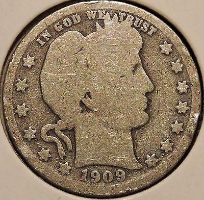 Barber Quarter - 1909-S - Historic Silver! - $1 Unlimited Shipping