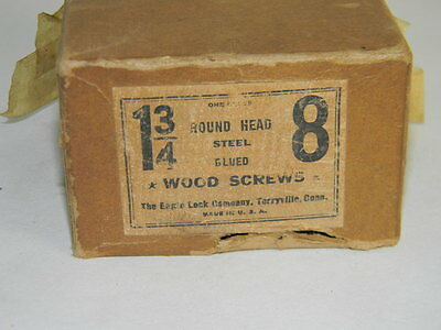 "New Old Stock  Boxe Of Round Head Blued Wood Screw Screws 1 3/4"" # 8 Inv T"