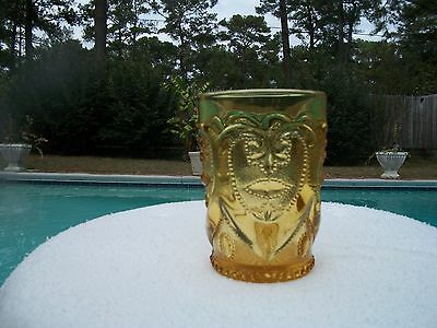 Rare Vintage L G Wright Sweetheart Honey Amber Glass Tumbler Dugan Jeweled Heart